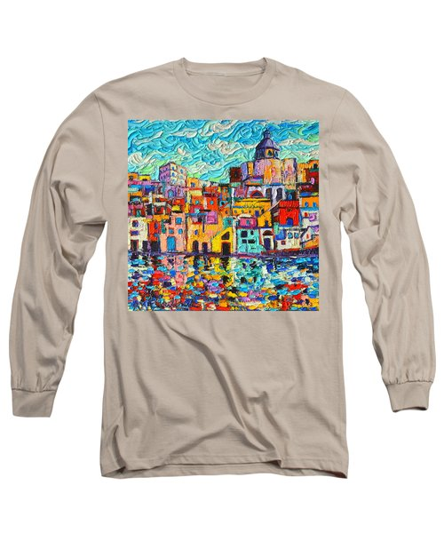 Italy Procida Island Marina Corricella Naples Bay Palette Knife Oil Painting By Ana Maria Edulescu Long Sleeve T-Shirt