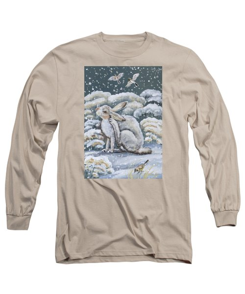 Long Sleeve T-Shirt featuring the painting Jackrabbit And Horned Larks by Dawn Senior-Trask