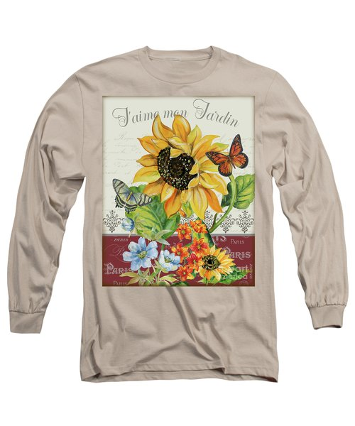 Long Sleeve T-Shirt featuring the painting J'aime Mon Jardin-jp3987 by Jean Plout