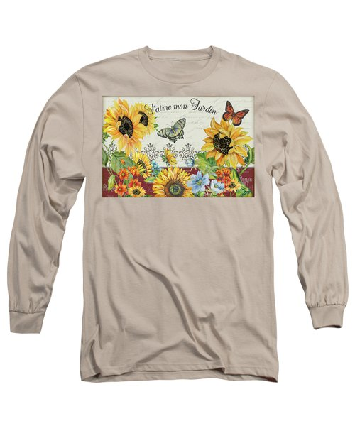 Long Sleeve T-Shirt featuring the painting Jaime Mon Jardin-jp3990 by Jean Plout