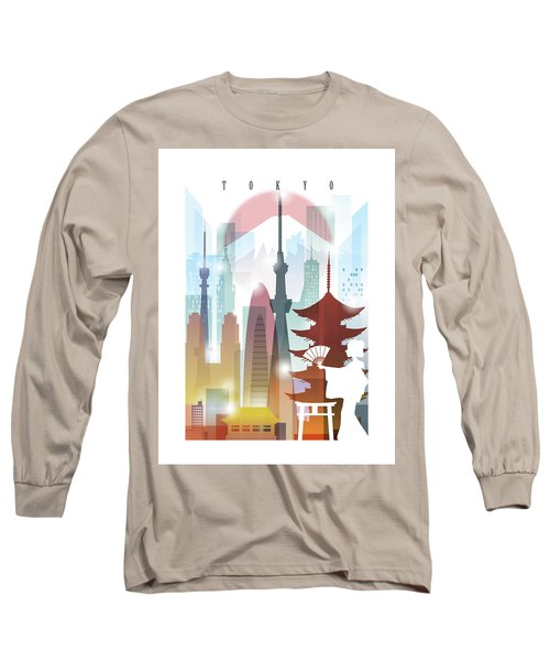 Japan Tokyo 2 Long Sleeve T-Shirt by Unique Drawing