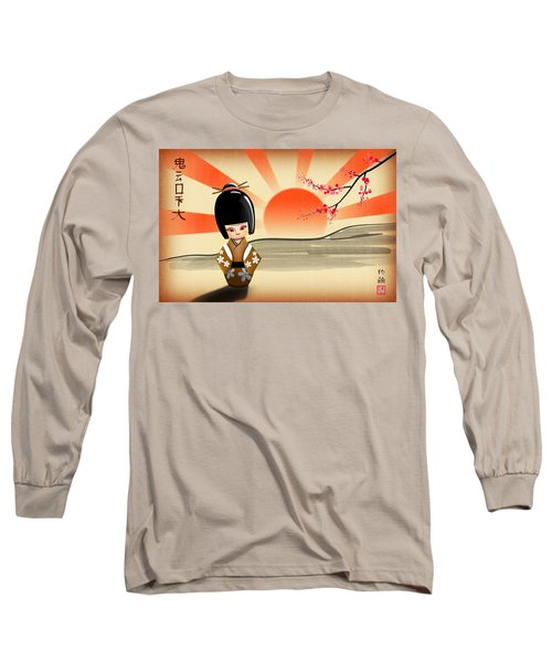 Long Sleeve T-Shirt featuring the digital art Japanese Kokeshi Doll by John Wills