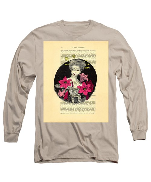 Japanese Lady With Cherry Blossoms Long Sleeve T-Shirt
