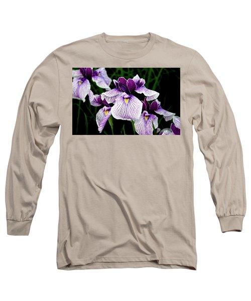 Japanese Water Iris In Purple 2714 H_2 Long Sleeve T-Shirt