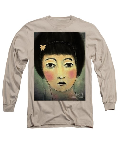 Japanese Woman With Butterflies Long Sleeve T-Shirt by Alexis Rotella