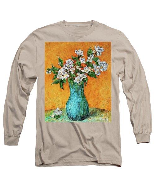 Jasmine Flowers In A Blue Pot Long Sleeve T-Shirt
