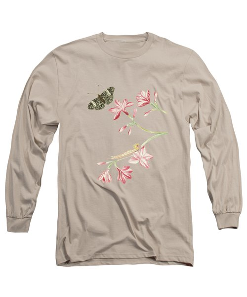 Jasmine Shrub With Red Flowers Caterpillar And Butterfly By Cornelis Markee 1763 Long Sleeve T-Shirt