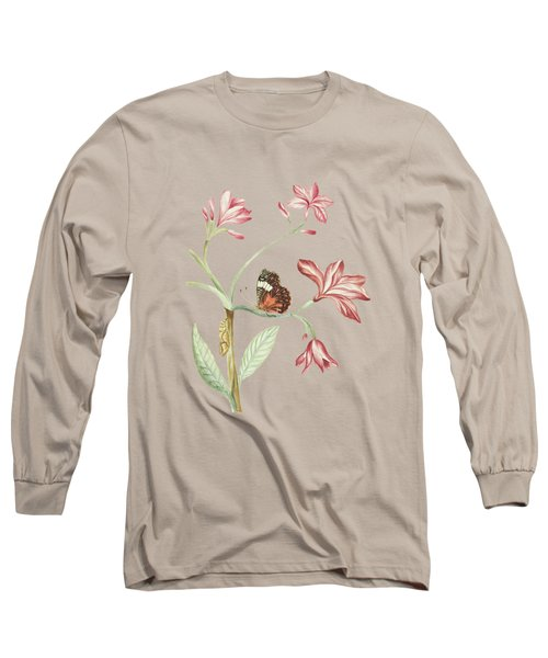Jasmine Tree Branch With Caterpillar And Sitting Butterfly By Cornelis Markee 1763 Long Sleeve T-Shirt