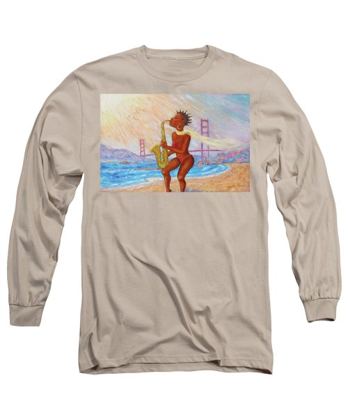 Long Sleeve T-Shirt featuring the painting Jazz San Francisco by Xueling Zou