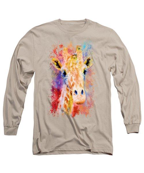 Jazzy Giraffe Colorful Animal Art By Jai Johnson Long Sleeve T-Shirt