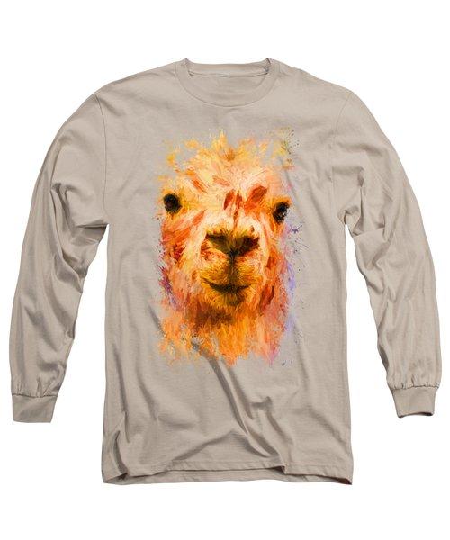 Jazzy Llama Colorful Animal Art By Jai Johnson Long Sleeve T-Shirt