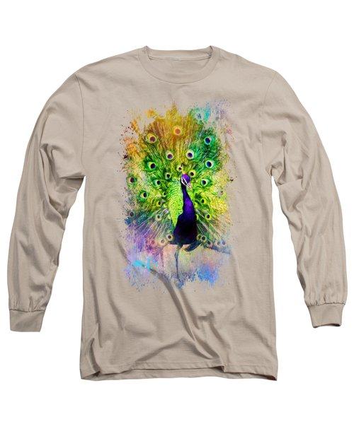 Jazzy Peacock Colorful Bird Art By Jai Johnson Long Sleeve T-Shirt by Jai Johnson