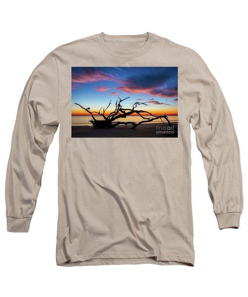 Jekyll Island Sunrise On Driftwood Beach Long Sleeve T-Shirt