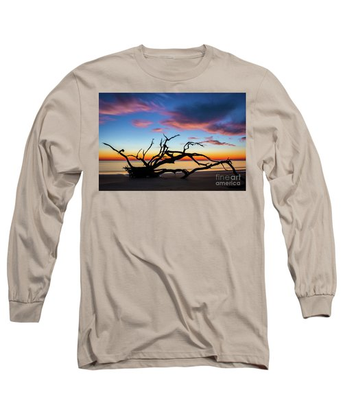 Jekyll Island Sunrise On Driftwood Beach Long Sleeve T-Shirt