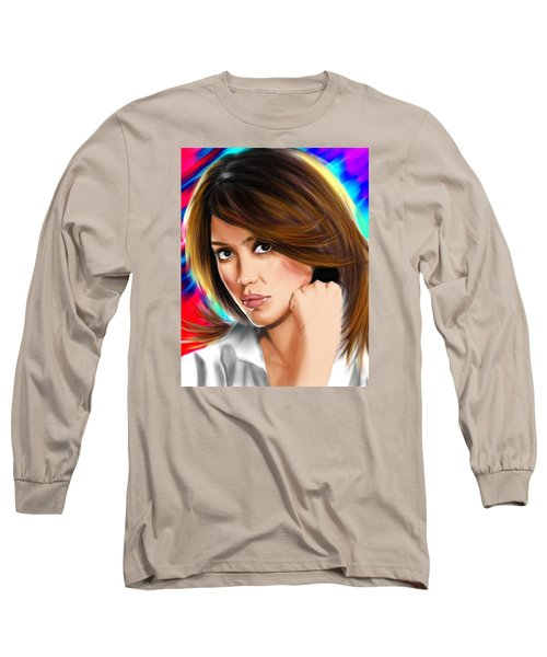 Jessica Alba Long Sleeve T-Shirt by Isaac Martinez