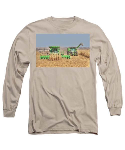 John Deere Combine Picking Corn Followed By Tractor And Grain Cart Long Sleeve T-Shirt