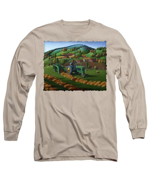 John Deere Tractor Baling Hay Farm Folk Art Landscape - Vintage - Americana Decor -  Painting Long Sleeve T-Shirt