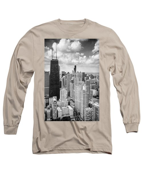 John Hancock Building In The Gold Coast Black And White Long Sleeve T-Shirt by Adam Romanowicz