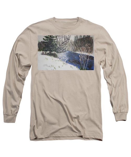 Long Sleeve T-Shirt featuring the painting Johnson Vermont In Spring Snow Storm by Donna Walsh