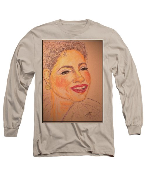 Long Sleeve T-Shirt featuring the drawing Joyful by Desline Vitto