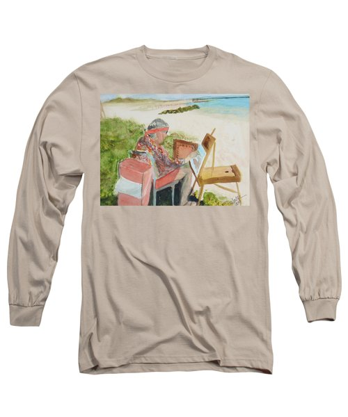 Long Sleeve T-Shirt featuring the painting Julia Painting At Boynton Inlet Beach  by Donna Walsh
