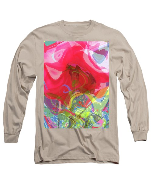 Just A Wild And Crazy Rose - Floral Abstract Long Sleeve T-Shirt by Brooks Garten Hauschild