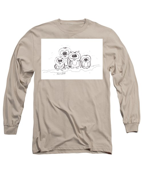 Just The Four Of Us Long Sleeve T-Shirt by Ramona Matei
