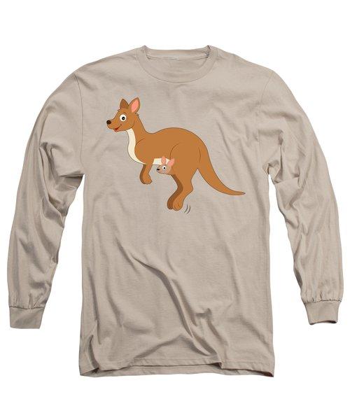 Mamma Kangaroo And Joey Long Sleeve T-Shirt by A