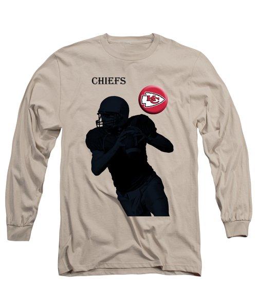Long Sleeve T-Shirt featuring the digital art Kansas City Chiefs Football by David Dehner