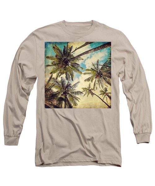 Kauai Island Palms - Blue Hawaii Photography Long Sleeve T-Shirt