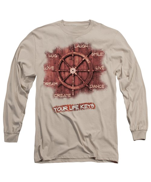 Keys To Happiness Typography On Wooden Helm Long Sleeve T-Shirt