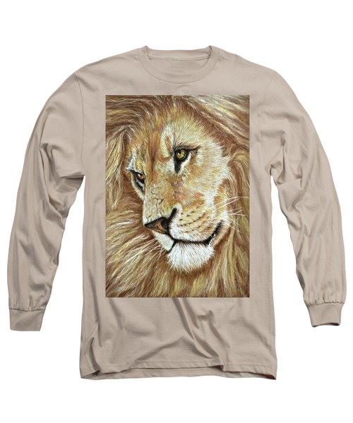 Long Sleeve T-Shirt featuring the drawing King Of The Jungle by Heidi Kriel