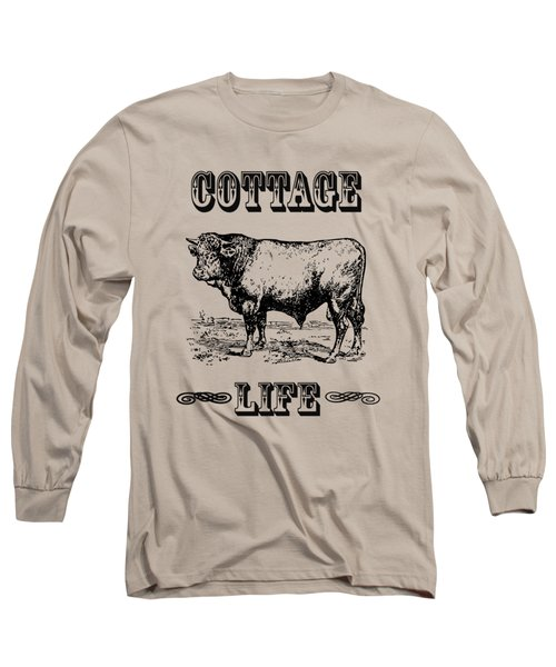 Kitchen Decor Cottage Life Cow Vintage Artwork Long Sleeve T-Shirt by Jacob Kuch