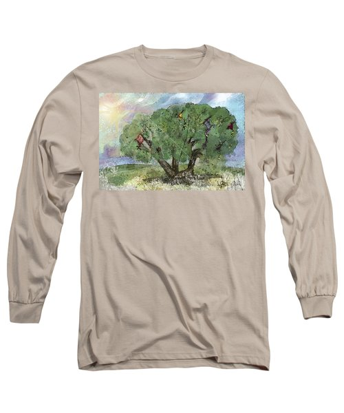 Long Sleeve T-Shirt featuring the painting Kite Eating Tree by Annette Berglund
