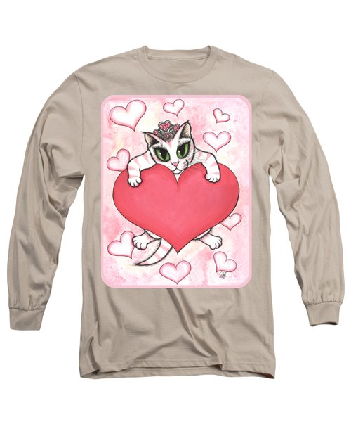 Long Sleeve T-Shirt featuring the painting Kitten With Heart by Carrie Hawks