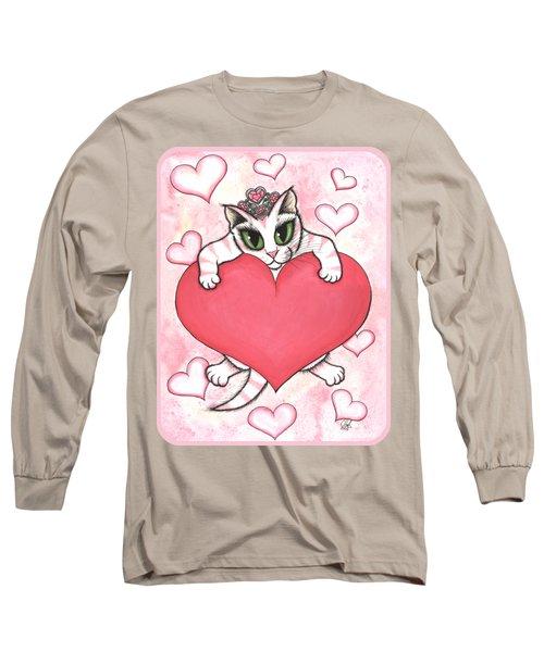 Kitten With Heart Long Sleeve T-Shirt