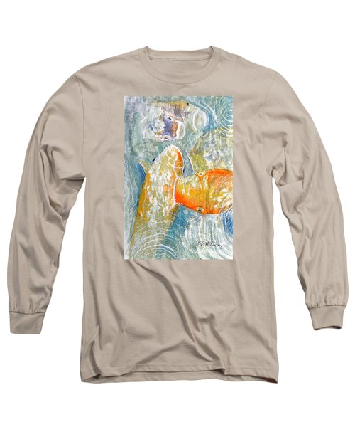 Long Sleeve T-Shirt featuring the painting Koi Carp Feeding Frenzy by Bill Holkham