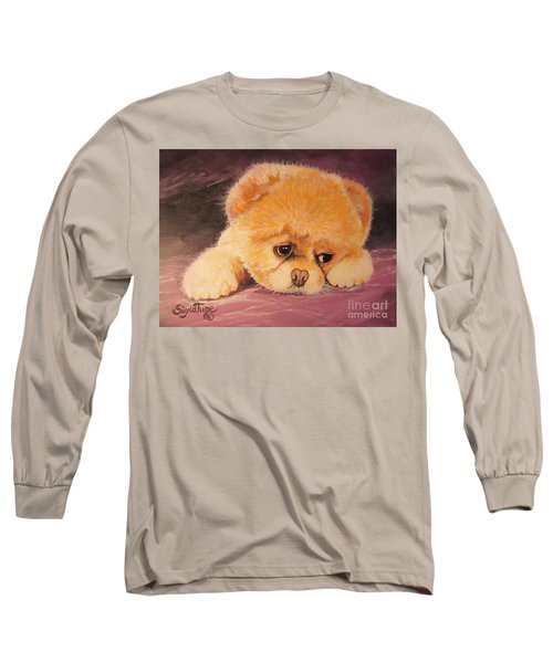 Long Sleeve T-Shirt featuring the painting Koty The Puppy by Sigrid Tune