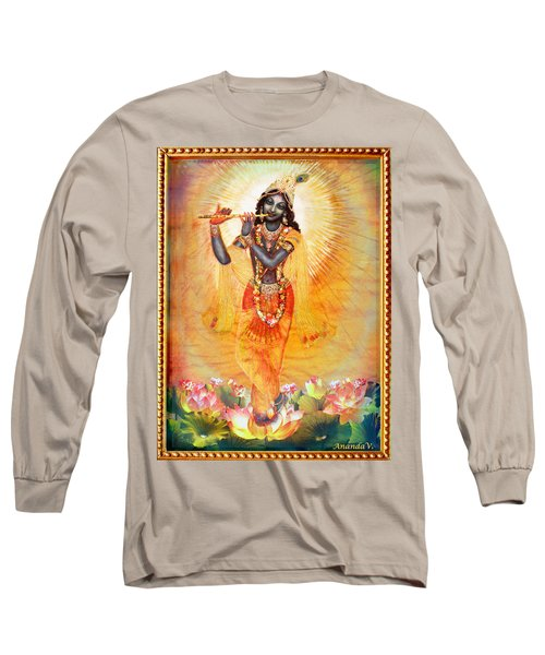 Krishna With The Flute Long Sleeve T-Shirt by Ananda Vdovic