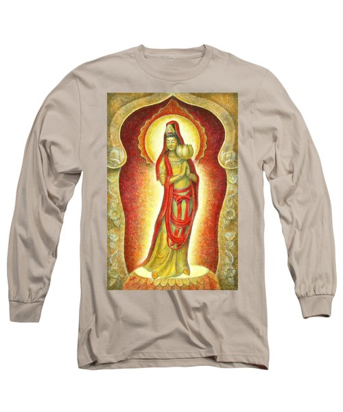 Long Sleeve T-Shirt featuring the painting Kuan Yin Lotus by Sue Halstenberg