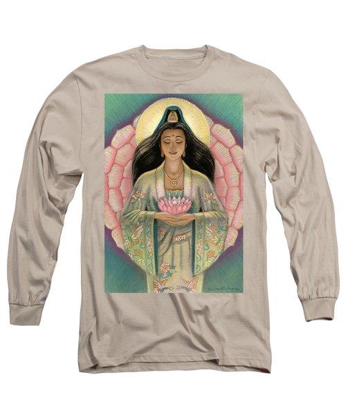 Kuan Yin Pink Lotus Heart Long Sleeve T-Shirt