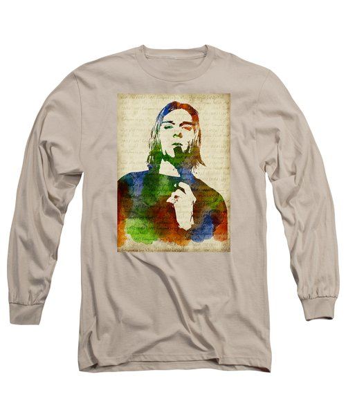 Kurt Cobain Watercolor Long Sleeve T-Shirt by Mihaela Pater