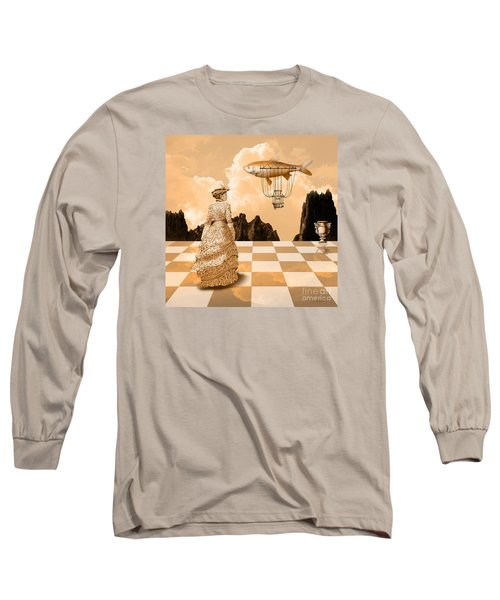 Long Sleeve T-Shirt featuring the drawing Lady by Alexa Szlavics