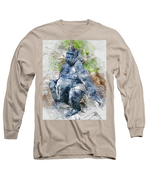 Lady Gorilla Sitting Deep In Thought Long Sleeve T-Shirt