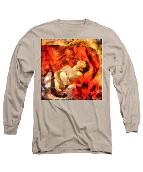 Lady In Red Long Sleeve T-Shirt by Gun Legler