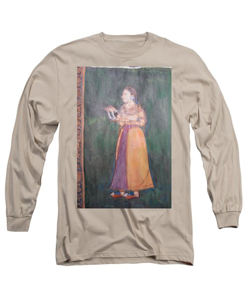 Long Sleeve T-Shirt featuring the painting Lady Of The Court by Vikram Singh