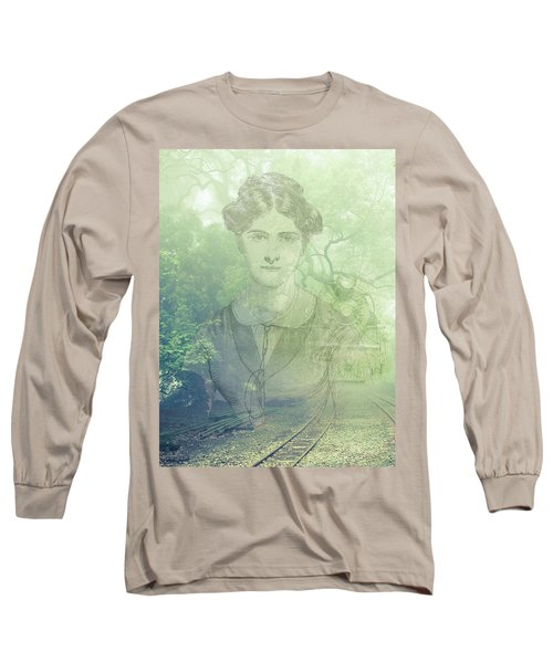 Long Sleeve T-Shirt featuring the mixed media Lady On The Tracks by Angela Hobbs