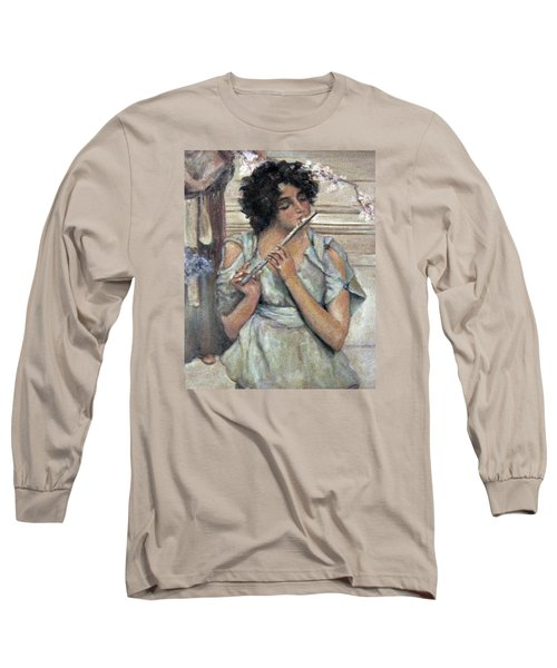 Lady Playing Flute Long Sleeve T-Shirt by Donna Tucker