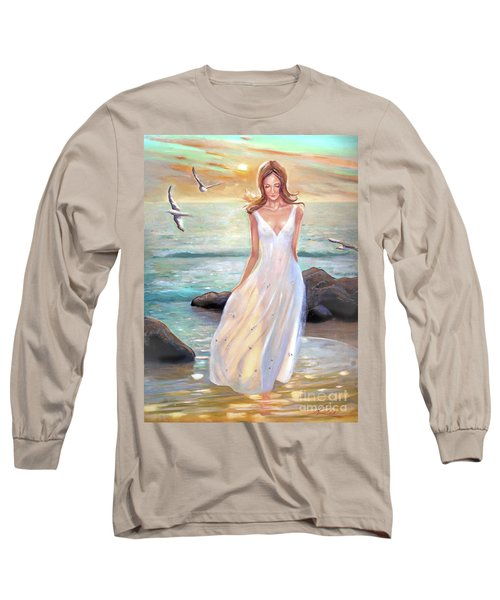 Lady Walking On The Beach Long Sleeve T-Shirt