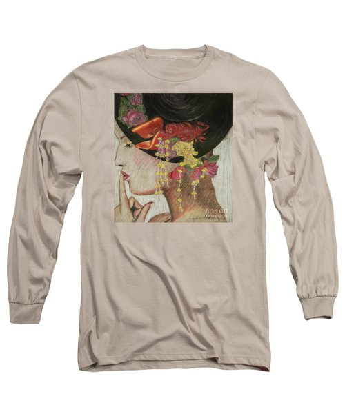 Long Sleeve T-Shirt featuring the drawing Lady With Hat by Jacqueline Athmann